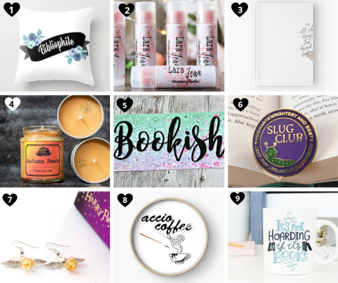 Bookish gift guide. Gift guide for book lovers. Bookish candle, pin, pillow, lip balm, bookmark, bookish merchandise for Christmas. Book things to buy for a friend