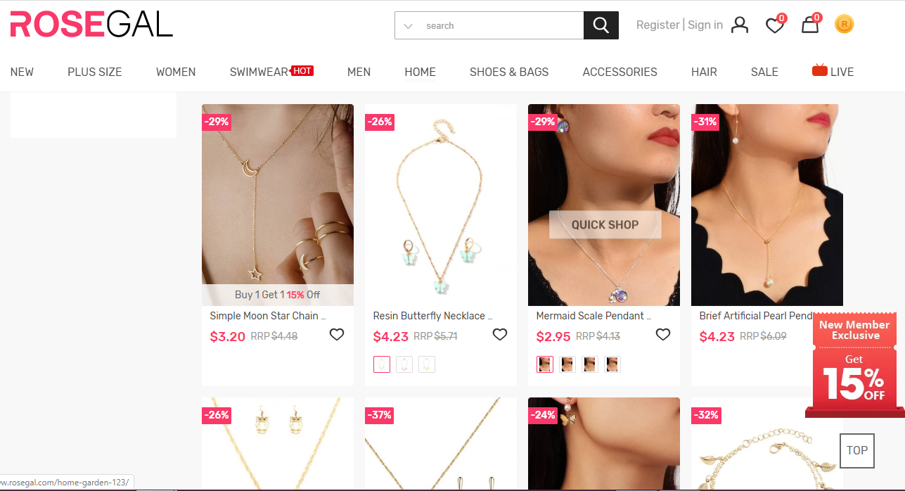 home page of rosegal jewelry