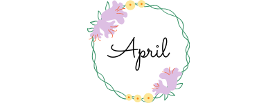 april text in circle of flowers