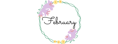 february text in a circle of flowers