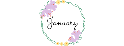 the word january in cursive font in a circle of flowers