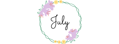 july text in a circle of flowers