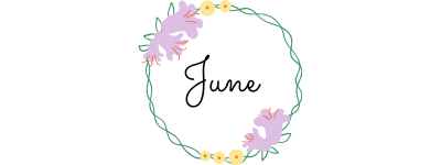 june text in a circle of flowers