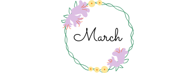 march text in a circle of flowers