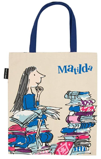 Matilda canvas tote bookish gift for fans of Roald Dahl. what to get for a bookworm gifts every book lover or reader needs gifts for bookworms