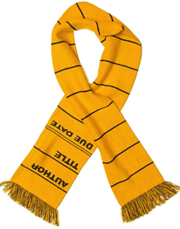 Library Card bookish scarf for book nerds and bibliophiles. Best bookish gifts for people who love books and novels