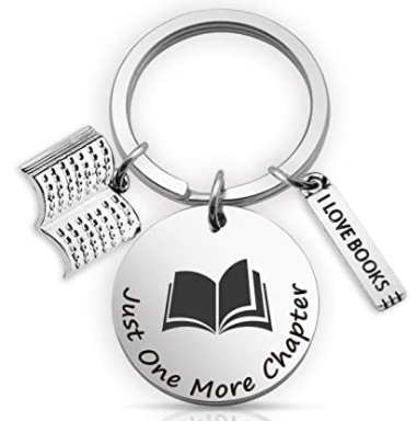 Just one more chapter key chain gift for book worms, gift ideas for book lovers, gift ideas for readers