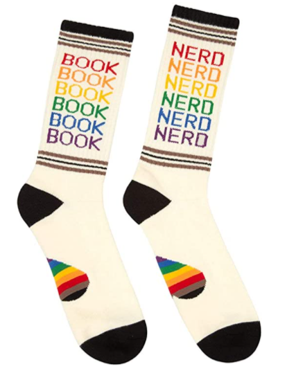 rainbow book nerd socks for book lovers and bibliophiles. gift ideas for readers bookworm gifts gifts for teenage book lovers