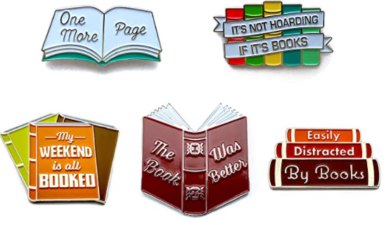 Bookish enamel pins as the best gifts for book lovers. bookworm gifts gifts for teenage book lovers bookworm gift basket
