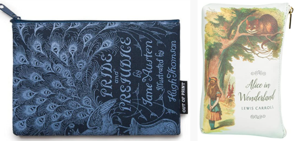 Pride and Prejudice pouch and Alice in Wonderland clutch purse gifts for book lovers. good gift to give with a book what to get for a bookworm