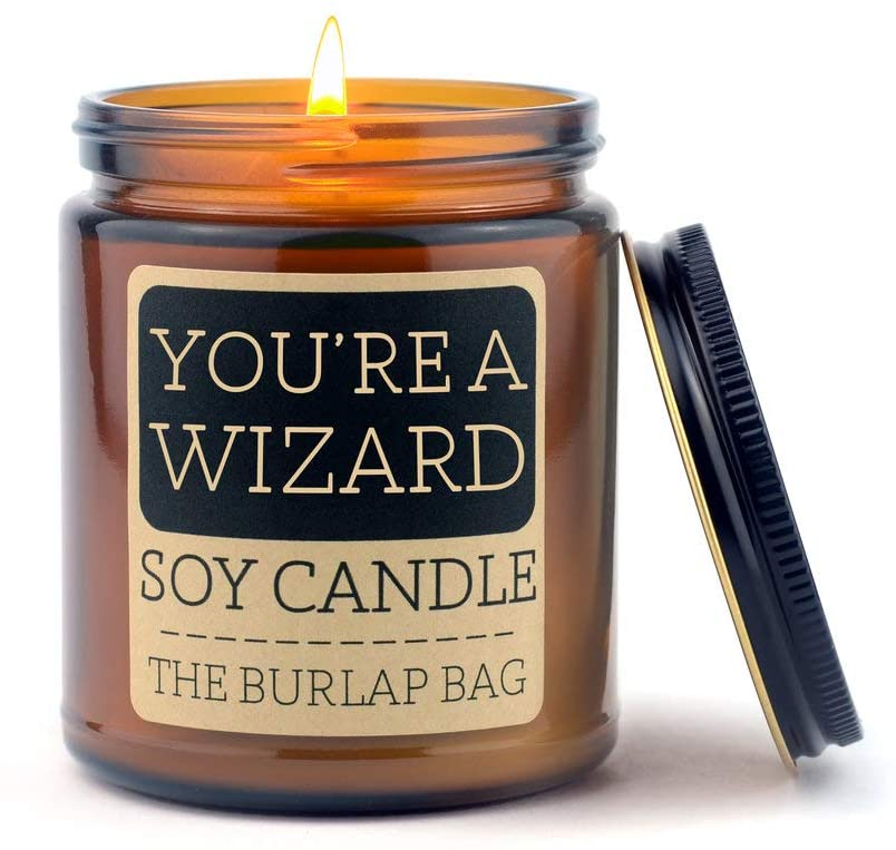 You're a Wizard soy candle is such a lovely gift for book lovers. Bookish candle gifts for book lovers. Gifts for book lovers that aren't books. Good gifts to give with a book.