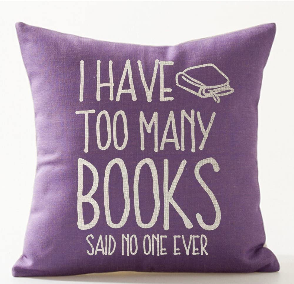 I Have Too Many Books Decorative Throw Pillow Case. Bookish pillows to give as gifts to readers. Gift basket for bookworms