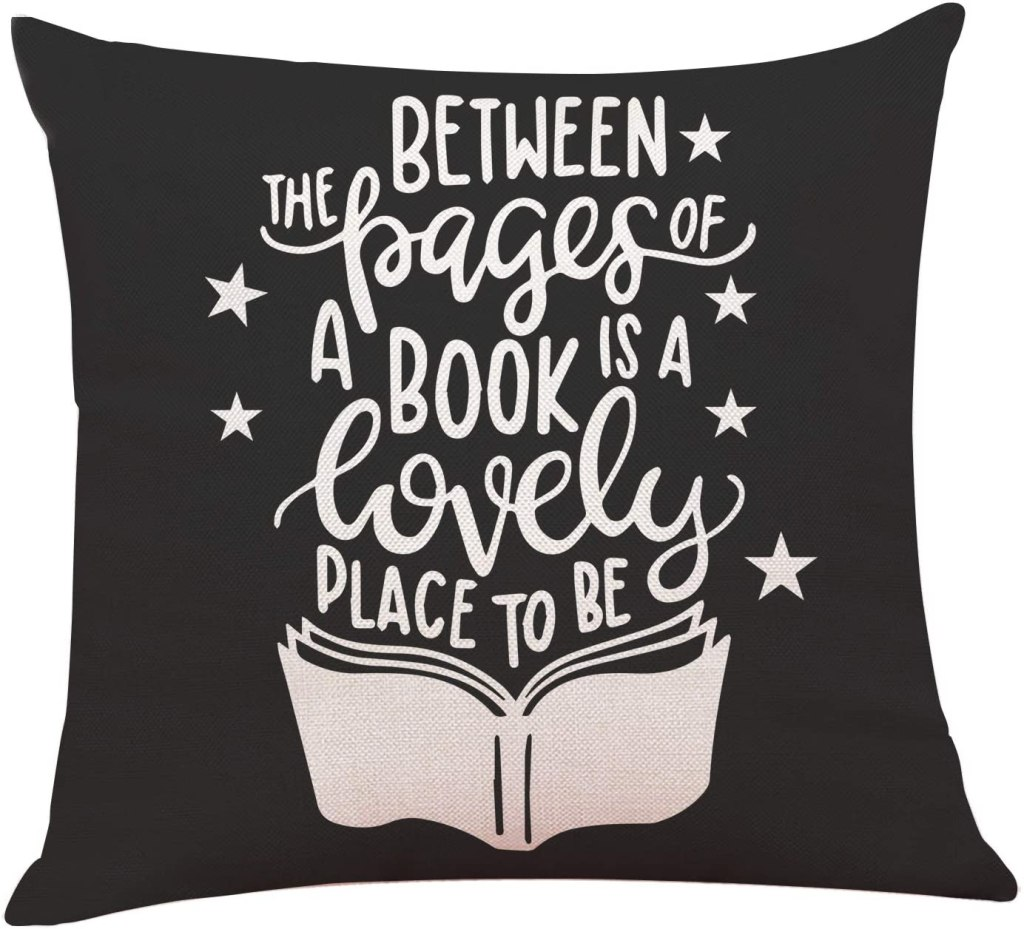 Between the Pages of a Book pillow cover makes a great gift for book worms. Best gifts for book lovers. Includes gifts every book lover or reader needs.