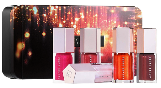 Fenty Beauty by Rihanna Mini Gloss Set. Best lip gloss set for beauty lovers. A perfect holiday gift guide that beauty lovers are sure to love for any budget! Gift Guide for the makeup Lover. Gift ideas for the beauty junkie. Best beauty gifts and stocking stuffers for makeup