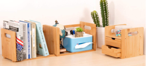 Bamboo Desk Organizer bookend gift with extendable storage to store books and files