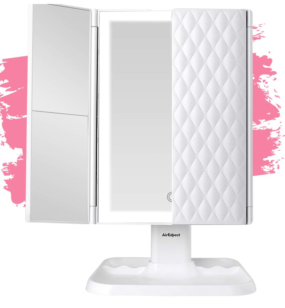 AirExpect Trifold Vanity Mirror with Lights. 2020 Holiday Beauty and Skincare Gift Guide. Gift Ideas for the Makeup Junkie in Your Life. Affordable and luxury gift guide for the beauty lover in your life! What to gift someone who loves makeup. What to get a girl who loves makeup.